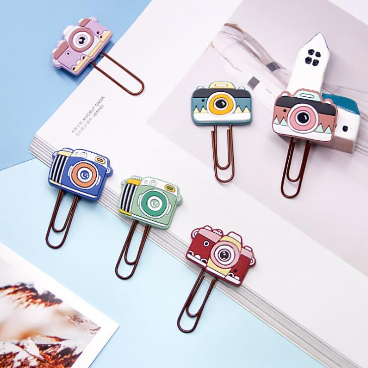 New Arrival 9pcs/lot Creative Vintage Camera Metal Paper Clip Cute Bookmark Decorative File Memo Clips School Stationery