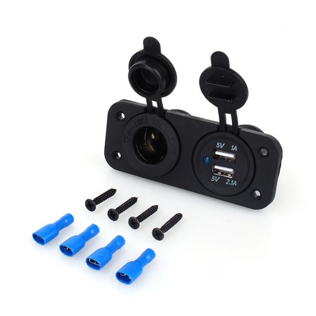 2019 12V Dual USB Car Cigarette Lighter Socket Splitter 12V Charger Power Adapter Outlet Accessories New Arrive