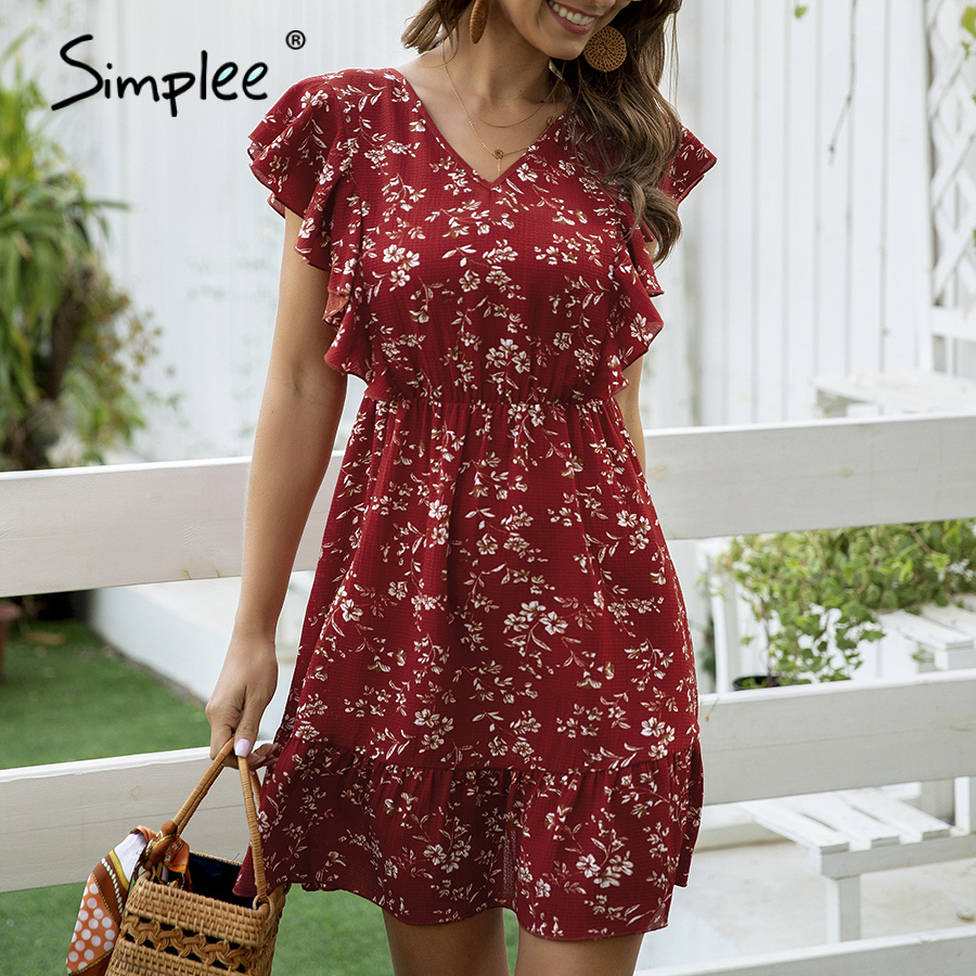 Simplee Floral Print Red Women Dress Boho Ruffled V-neck Backless Summer Dress Casual Holiday Ladies Chic Beach Wear Mini Dress