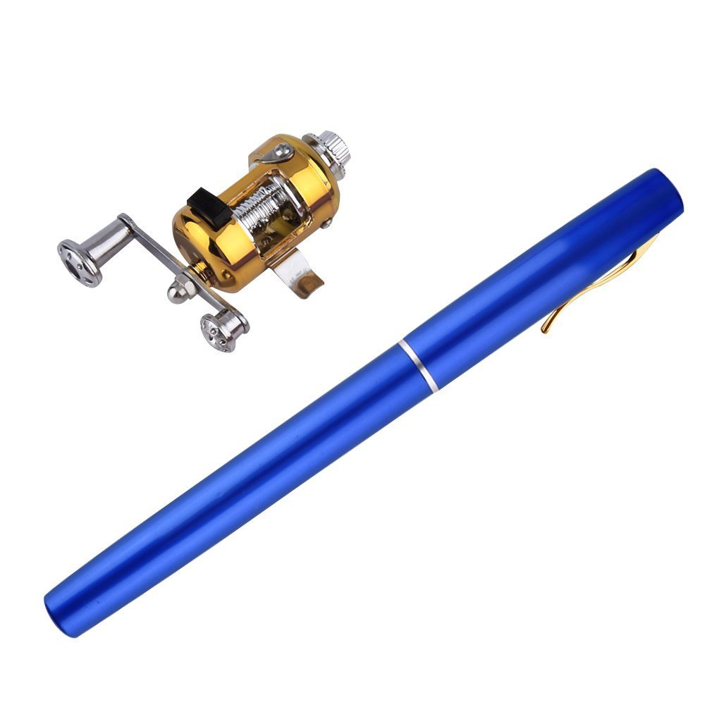 Pocket Telescopic Mini Rod Combo Fishing Pole Aluminum Alloy Pen Shape Fishing Rod Combo With Reel Wheel drop shipping