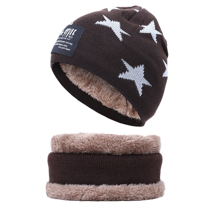 Wholesale New Winter Warm Knit Hat Scarf Set Thick Plush Velvet Lining Innocent Urinal Cap And Scarf 2 Piece8
