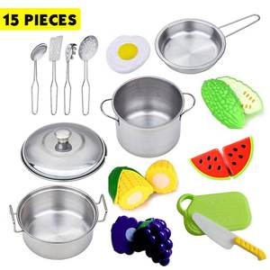 15Pcs Stainless Steel Children Kitchen Toys Miniature Cooking Set Simulation Tableware Toy Pretend Play Cook Toy for Kids Gift