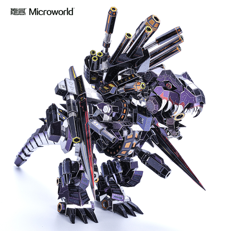 Microworld Dinosaur Tyrannosaurus model kits DIY laser cutting Jigsaw puzzle fighter model 3D metal Puzzle Toys for Children