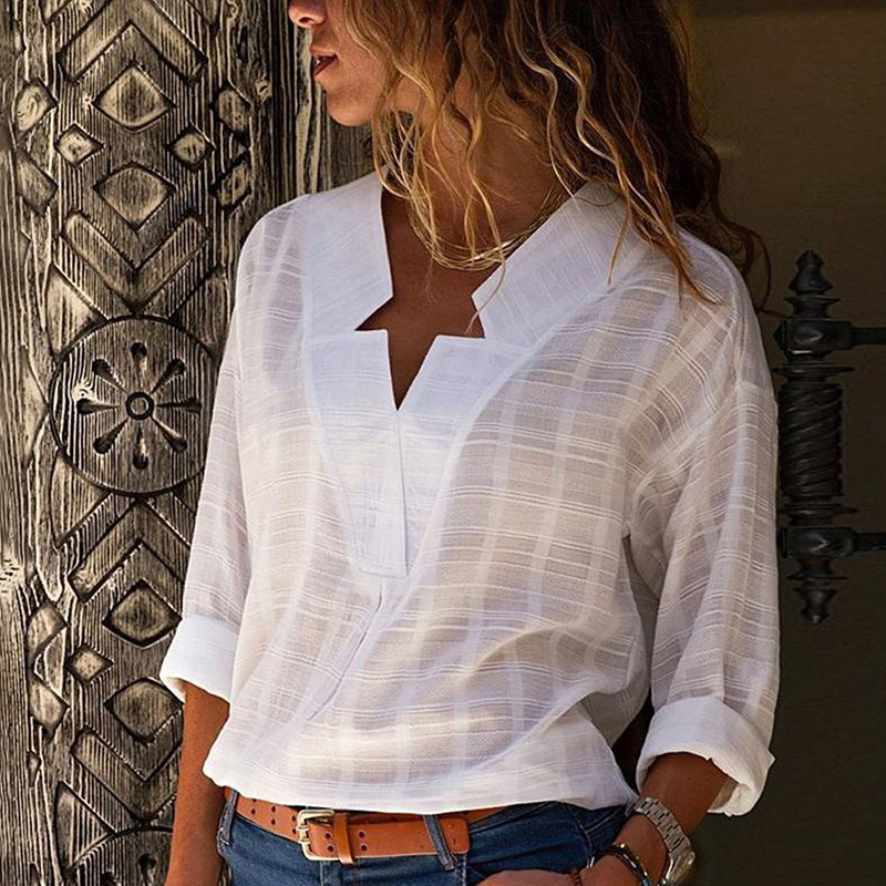 Women's White V-neck Long Sleeve Shirt Top Plus Size 5XL Office Lady Womens Tops And Blouses Black 2019 Spring Star Shirts Women