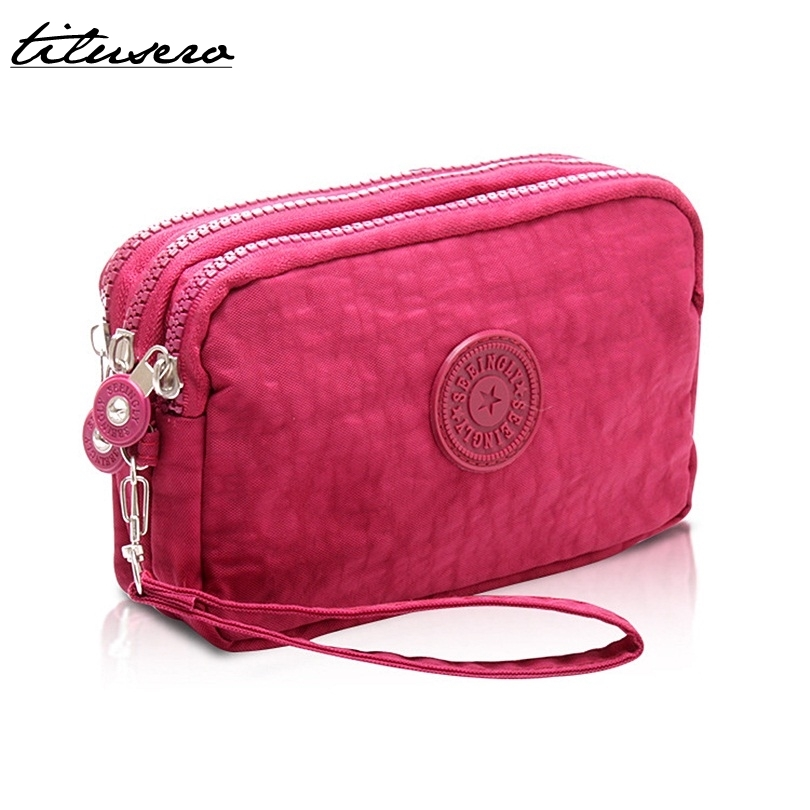 2018 New Three Zippers Coin Purse Women Small Wallet Washer Wrinkle Fabric Phone Purse Portable Make Up Bag F015