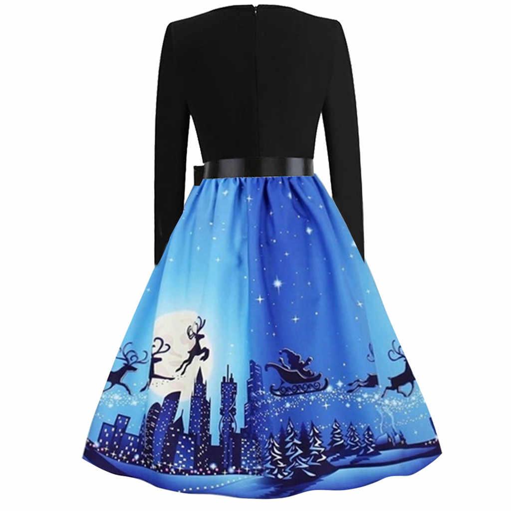 Зимние рождественские платья, женское винтажное платье, элегантное вечернее платье с длинным рукавом, повседневное синее платье vestidos