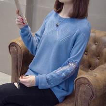Весна Осень 2020 тонкий женский кружевной свитер вязаный с цветочным