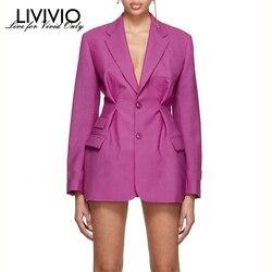 [LIVIVIO] уличная корсет с высокой талией, длинный рукав, розовый блейзер, пальто для женщин 2019, осенняя Женская корейская модная одежда