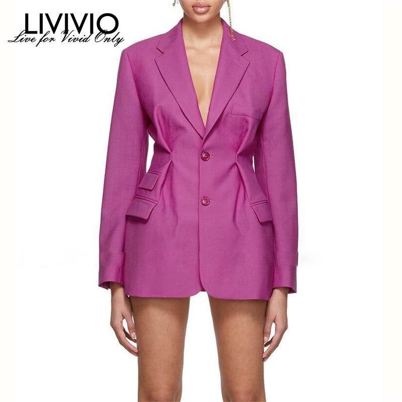 [LIVIVIO] Streetwear Corset High Waisted Long Sleeve Pink Blazer Coat Women 2019 Autumn Female Korean Fashion Clothing