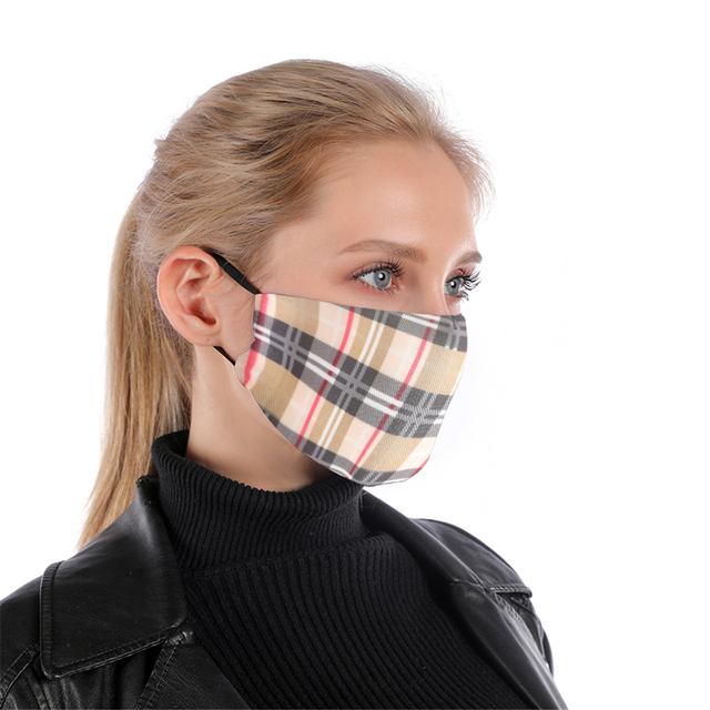 Plaid Reusable Mouth Mask Washable British Style Face Mask With Filter Mask Adjustable Cotton Windproof Mouth-muffle Flu Mask 1