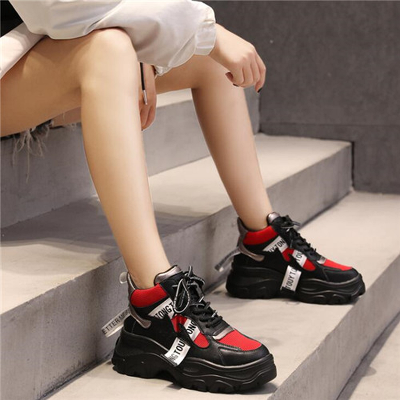 LZJ New 2019 Spring Leather Women's Platform Chunky Sneakers Fashion Women Flat Thick Sole Shoes Woman Dad Footwear