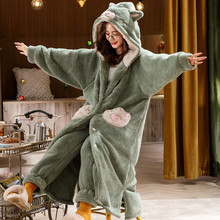 Men's Bathrobe Robe Sets Pajamas Couples Matching Plus Size Pajamas Warm TV Pocket Hooded Cat Paw Blankets Homewear