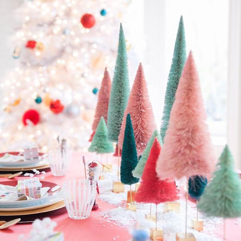 Fake Pine Tree Mini Artificial Christmas Tree Mini Sisal Tree Miniature Tree Christmas Party Photo Prop For Christmas Ornament
