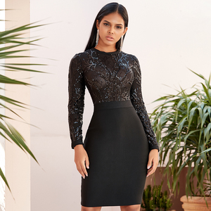 Image 1 - Winter Autumn Women Black Lace Sequined Hollow Out Long Sleeve Evening Elegant Dresses Spring Night Party Sexy Bandage Vestidos