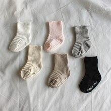 2020 Spring Ribbed Baby Socks High Quality New Knit Soft Newborn Toddler Infant Kids Girls Boys Non Slip Socks 0~4 Year Fashion
