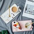 230ML Keramik Kaffee Tasse Kleine, Zarte Nordic Stil Einfache Haushalts Tasse Set Licht Luxus Britischen Nachmittags Tee Snack Platte