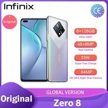 Versão Global Infinix Zero 8 8 + 128GB smartphone 6.85 ''Tela FHD 90Hz Completo 33W Carregador телефо 64MP Quad Câmera 4500mAh Da Bateria