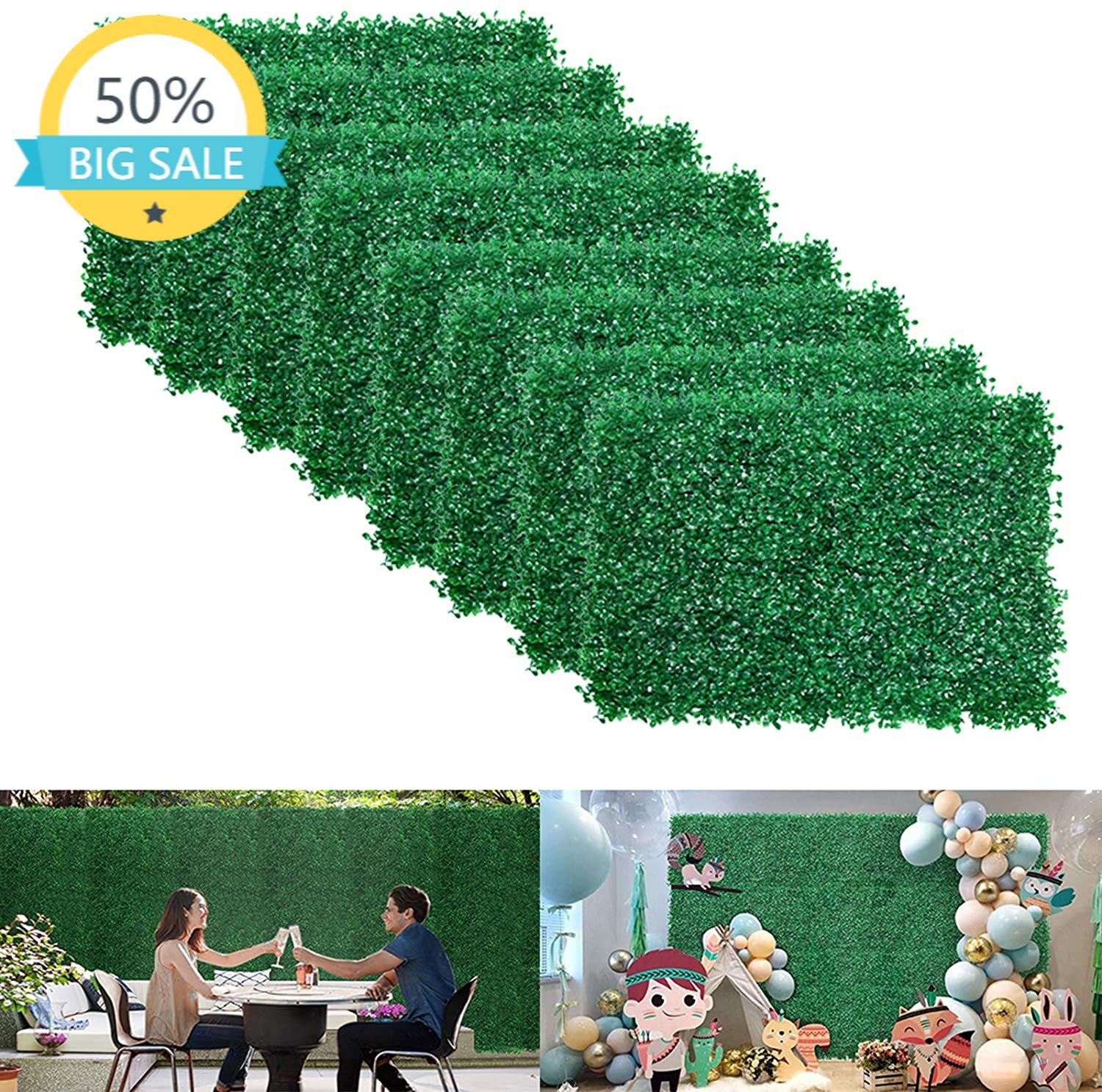 Artificial Boxwood Hedges Panels, Faux Grass Wall, Shrubs Bushes Backdrop, Garden Privacy Screen Fence Decoration, Pack of 24pcs