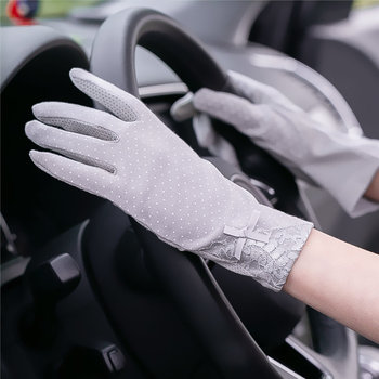 New Fahion Cotton gloves Non-slip Breathable Ladies Gloves Spot Summer Thin UV Protection Sun driving - discount item  17% OFF Gloves & Mittens