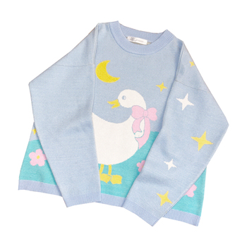 Japanese Lolita Spring Autumn Women Sweater Blue Duck Moon Stars Baggy Pullover Sweater Cute Kawaii Letter Oversized Outerwear 1