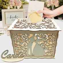 DIY Wedding Card Box Wooden Couple Money Boxes with Lock Hollow Floral Pattern Wedding Decor Gift Envelope Birthday Supplies