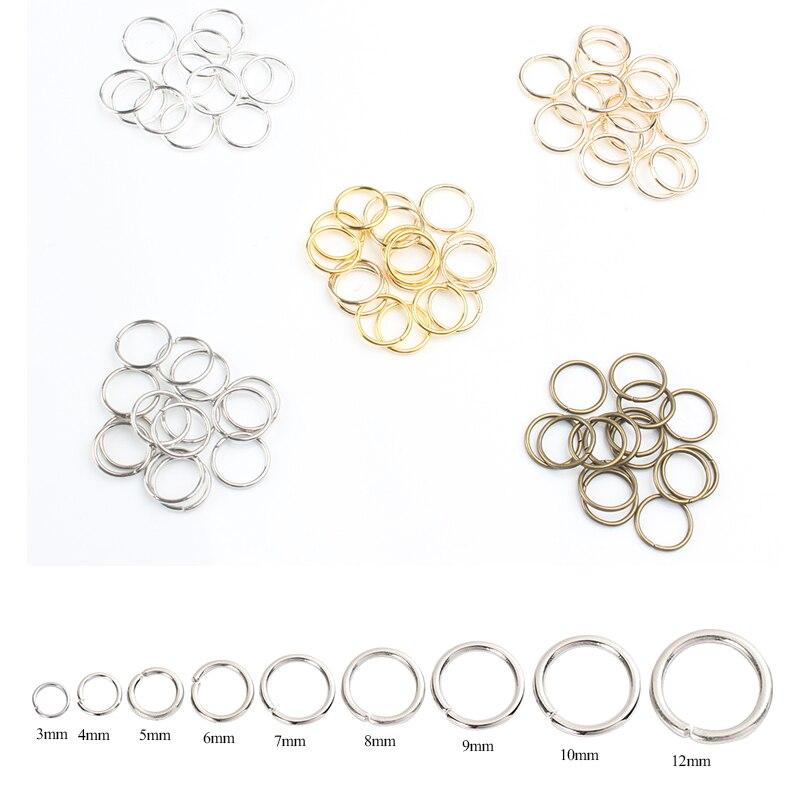 Металлические соединительные кольца 200 шт./лот 3 мм-12 мм, фурнитура для ювелирных изделий, разрезные кольца с открытой петлей, принадлежности...