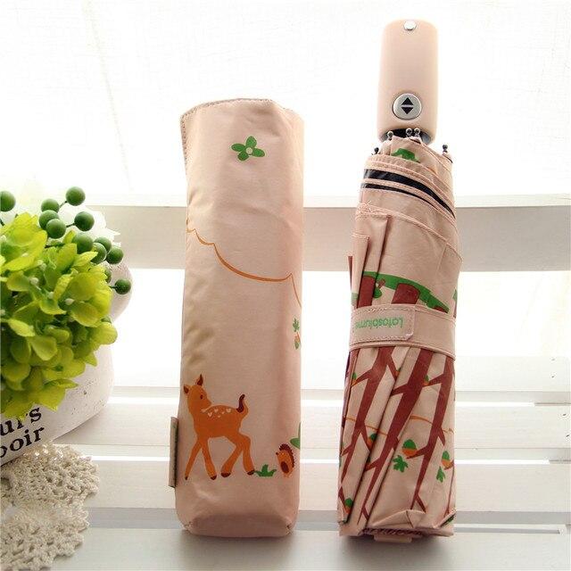 Lotosblume di marca di Vendita Calda Nuovo Completamente Automatico Anti Uv Per Le Donne del Regalo di Modo Antivento Sun Pioggia Delle Signore Ombrelli