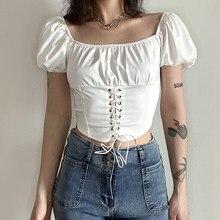 WEEKEEP-Camiseta de manga abombada con diseño para mujer, top de cintura ajustada, color sólido, corto salvaje, de verano