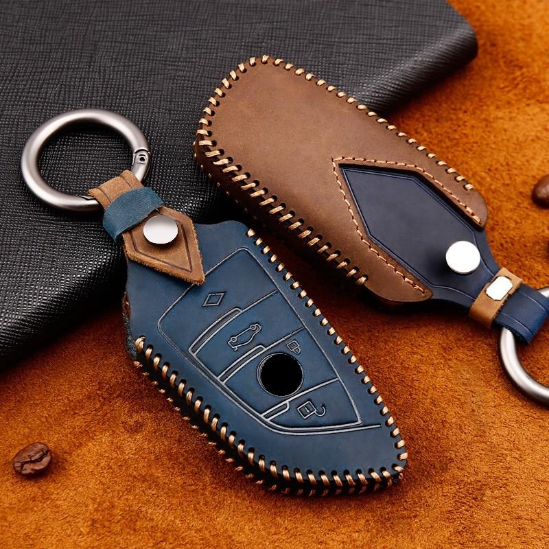 Genuine Leather Handmade Car Key Cover key Case For BMW 1 2 3 4 5 6 7 Series X1 X3 X4 X5 X6 F30 F34 F10 F07 F20 G30 F15 F16