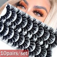 Nova moda 10 pares 3d volume completo grosso wispies cílios extensão vison cabelo cílios postiços olho maquiagem ferramentas artesanais