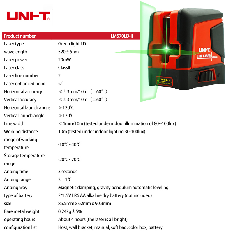 UNI T Vertical Measuring Line Self LM570LD Layout Level Instrument Lines Horizontal Green Laser Cross Leveling Beam II