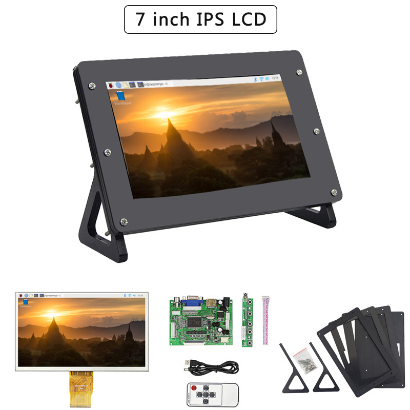 7inch Raspberry Pi 4 Model B LCD TFT Display 1024*600 Screen + Driver Board HDMI VGA+ Holder + Remote For Pi 4B/3B+/3B