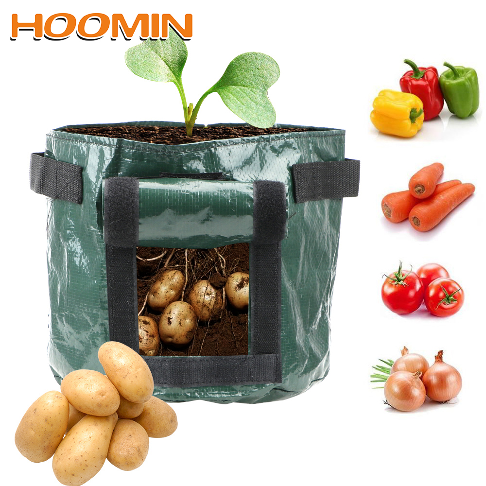 HOOMIN 1Pcs Thicken Garden Pot Planting Container Bag DIY Potato Grow Planter Vegetable Plant Grow Bag Garden Supplies PE Cloth