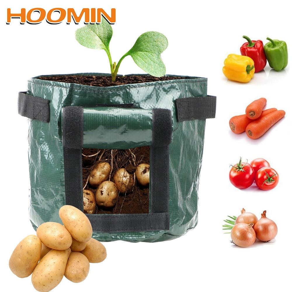 HOOMIN 1Pcs Thicken Garden Pot Planting Container Bag DIY Potato Grow Planter Vegetable Plant Grow Bag Garden Supplies PE Cloth