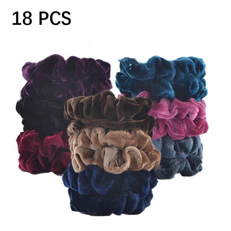 18 Pcs/ Lot Women Velvet Scrunchie Pack Elastic Hair Bands For Girl Scrunchies Headwear Vintage Hair Ties Accessories 2019