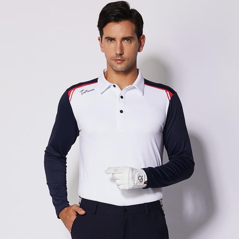 2019 nouvelle chemise de golf à manches longues sportswear d'automne hommes maillot mixte couleur rouge blanc marine 3 couleurs S ~ XXL de qualité supérieure