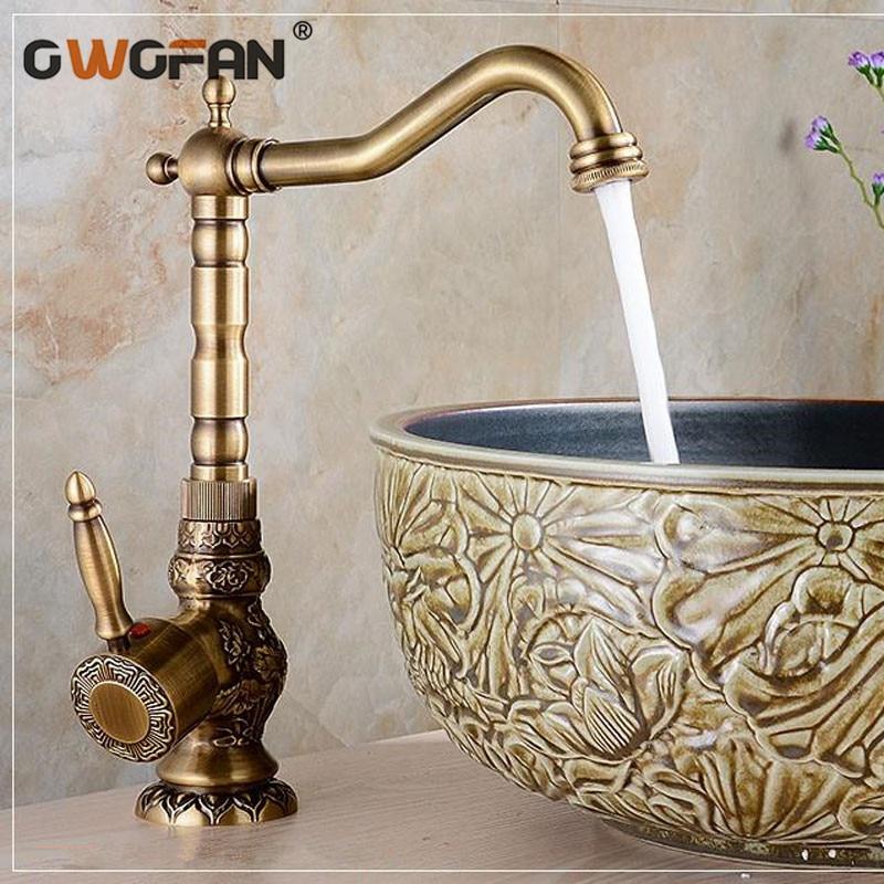 High Quality Basin Faucets Antique Bronze Faucet Brass Swivel Mixer Vintage Sink Taps Classic Retro Tap