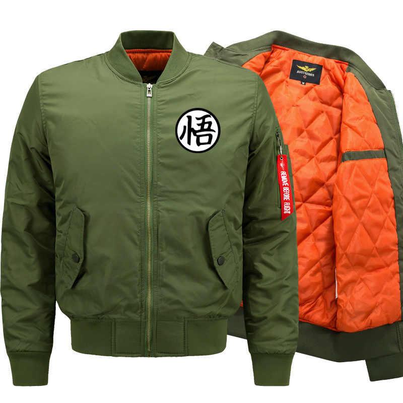 Anime Dragon Ball Z Goku Print Jacket Men Casual Stand Collar Men Bomber Jacket Baseball Uniform Parka Coat Manteall Homme M-8XL