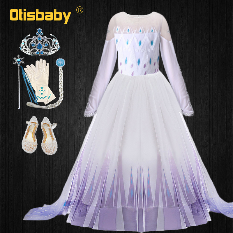 High Quality Floor Length Elsa Dress For Girls Snow Queen White Princess Dress Long Cloak Party Cosplay Girl Carnival Costume