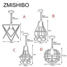 ZMISHIBO Irregular Iron Cage Design Pendant Lights Adjustable Length Hanging Lamp E27 Droplights Home Suspension Luminaire