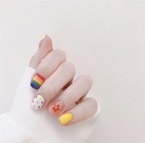 Image 5 - 14tips/set Full Cover Nail Stickers Wraps Decoration DIY for Beauty  Art Decals Plain  Self Adhesive