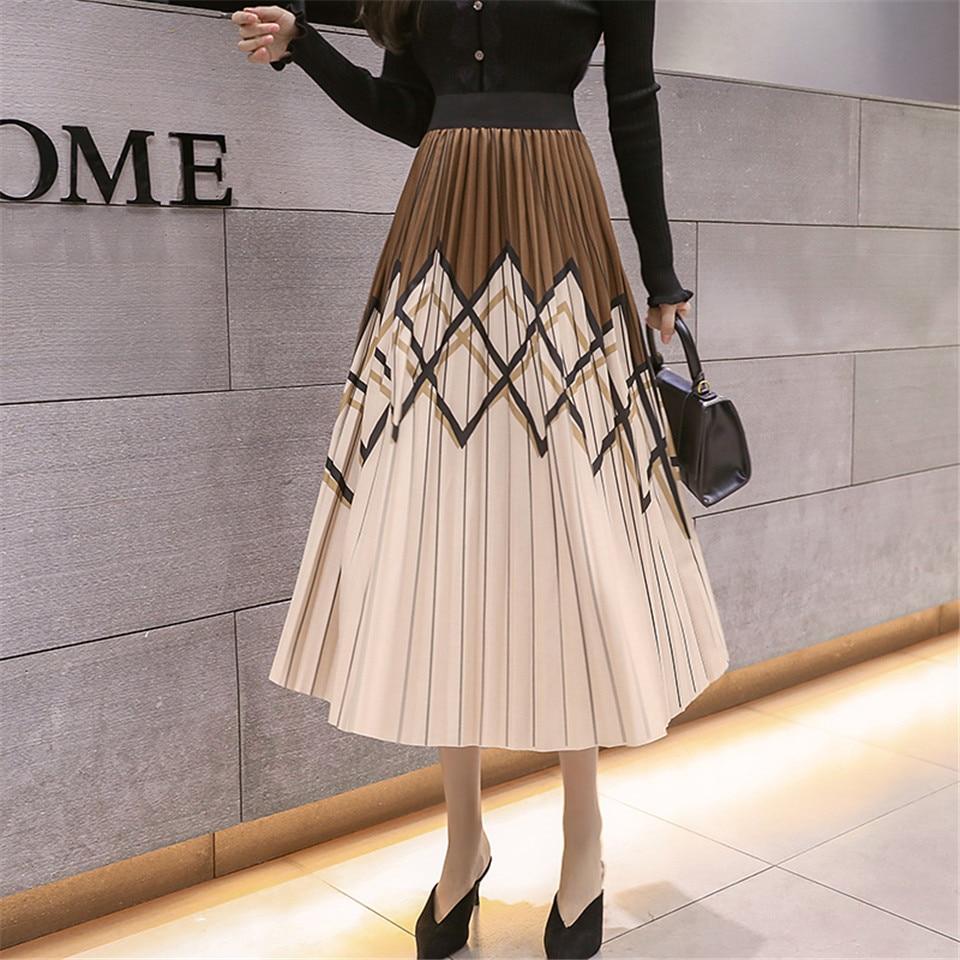 Womens Skirt Long Skirts Clothing Black Pencil Winter High Waist Harajuku Vintage 2019 Flowy Elastic Knee Length Streetwear