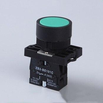 цена на 22mm Momentary Flat Push button switch XB2- EA31 EA42 ZB2-BE101C 102C 1NO 1NC 10A self return power starter switch Red Green