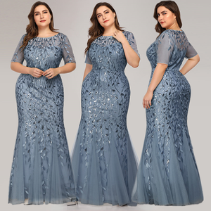 Image 2 - Queen Abby Evening Dresses Mermaid Sequined Lace Appliques Elegant Mermaid Long Dress 2020 Party Gowns Plus Size