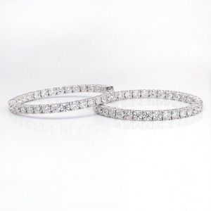 Image 2 - 3mm Round Brilliant H&A Cut EF Color White Moissanite Solid 14K White Gold Hoop Earrings for Women 6CTW 60pcs