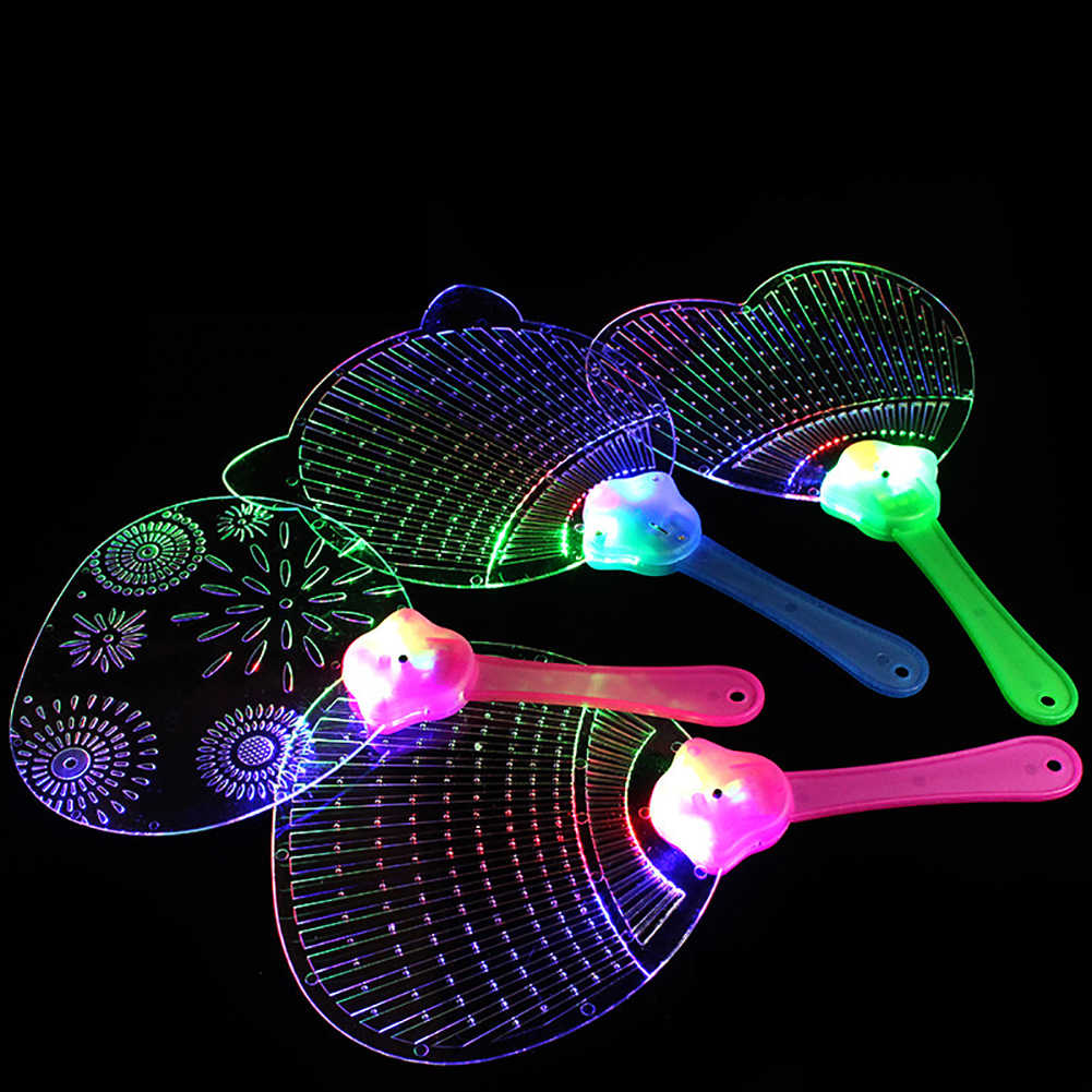 Cute Butterfly Bee LED Light up Flashing Flat Hand Fan Toy Concert Party Favors