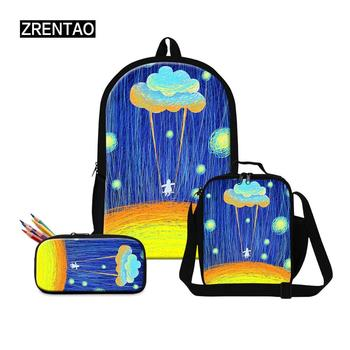 ZRENTAO new fashion backpacks 3 PC\set bags for school children pencil bags  teenagers book double zipper mochilas