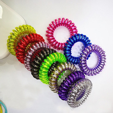 Candy Colors Elastic Telephone Wire Thin Hair Bands Cute Stretch Plastic Rubber Ties Scrunchies