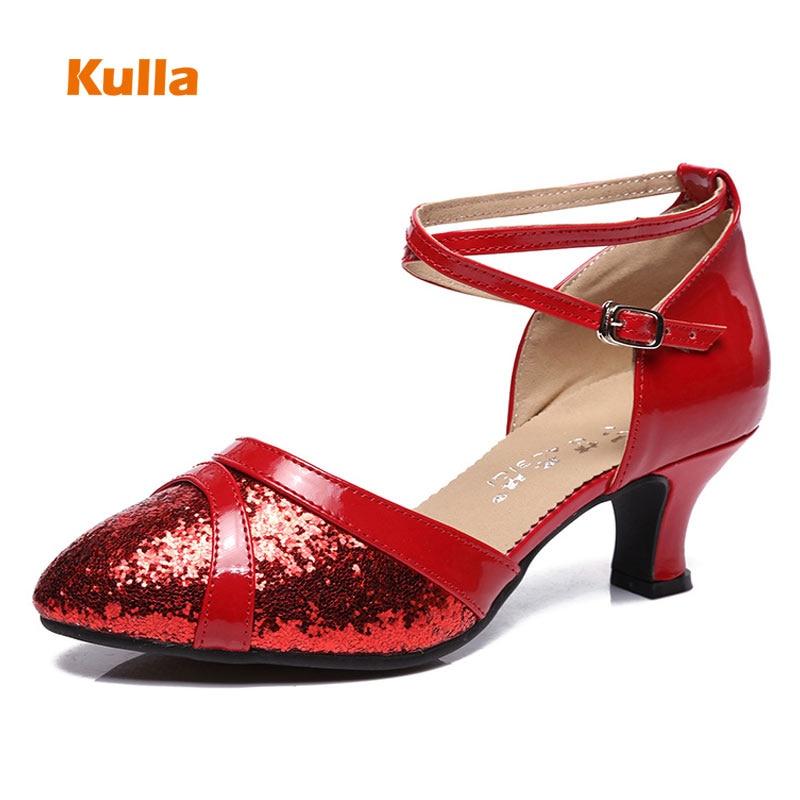 Women's Latin Salsa Tango Dance Shoes Glitter Cloth Soft PU Sole Ladies Party Ballroom Dancing Shoes Heels 5/5.5/7cm Size 34-41