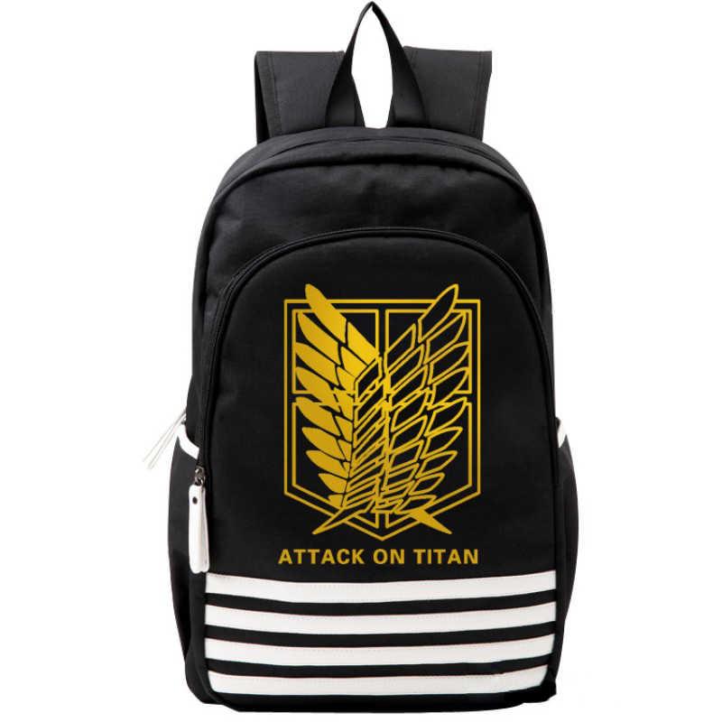 Attack on Titan Black Gold Wings Mens Student Backpack School Bag Teenagers Bookbag Rucksack Travel Bags Purse Back Pack for Boy